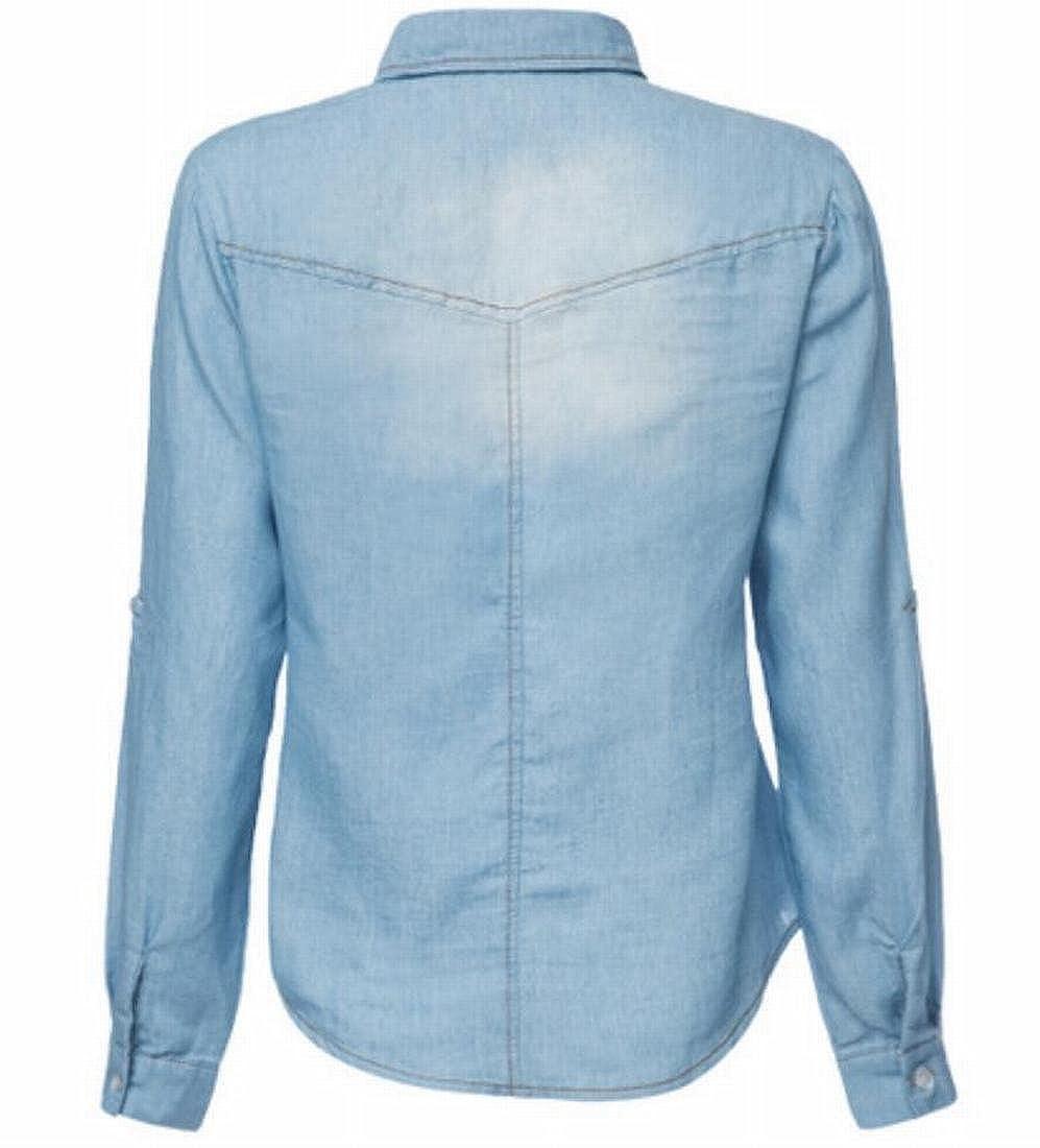 e1469bad83 JXG Women s Long Sleeve Double Pocket Button Front Jean Denim Shirt at  Amazon Women s Clothing store