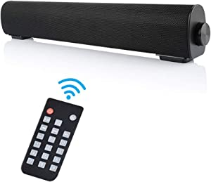 Soundbar, Outdoor/Indoor Wired & Wireless Bluetooth Stereo Speaker with Remote Control, 2 X 5W Mini Home Theater Sound bar with Built-in Subwoofers for Phones/Tablets/PC (Black)