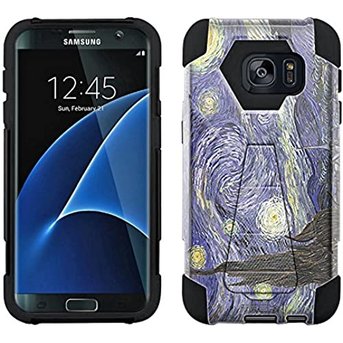 Samsung Galaxy S7 Edge Hybrid Case Van Gogh Starry Night 2 Piece Style Silicone Case Cover with Stand for Samsung Sales