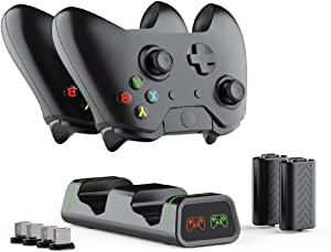 Xbox One Controller Charger Station with 2X 1200mAh Rechargeable Battery Pack, ElecGear Dual Charging Dock Stand for Xbox One/One S/One X and Elite Wireless Controller, 4X USB Dongle Included