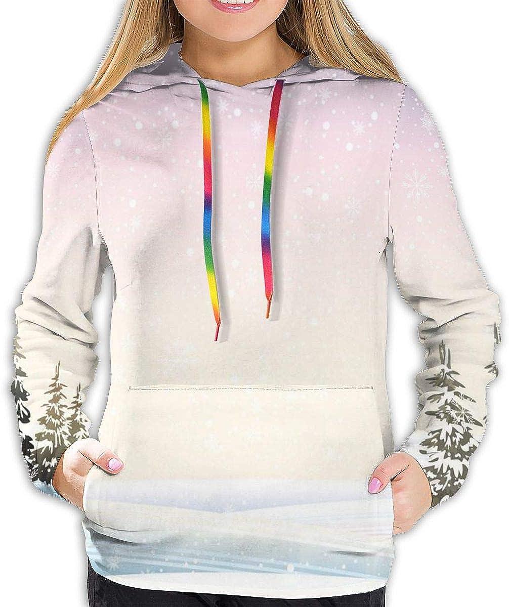 Womens Hoodie,Snowfall in The Forrest Pine Trees Northern Hemisphere December Frozen Temperatures,Lady Sweatshirt