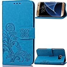 Samsung Galaxy S6 Edge Beautiful Case, Fashion four-leaf clover Printing Premium PU Leather Wallet Case with Wrist Strap Flip Case Cover for Samsung Galaxy S6 Edge Touch Screen Stylus Pen (blue)