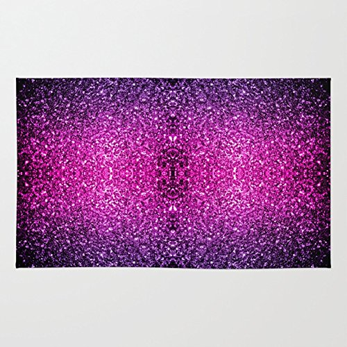 4' Woven Glitter - Society6 Purple Pink Ombre Glitter Sparkles Rug 4' x 6'