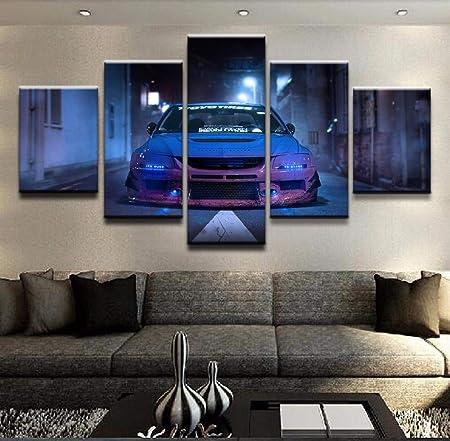 HY.Bohu Decoración de la Pared Pinturas sobre Lienzo Arte de la Pared para Sala de Estar Decoración para el hogar 5 Piezas Coche Azul Mitsubishi Lancer Evolution Sport Car Pictures Frame: Amazon.es: