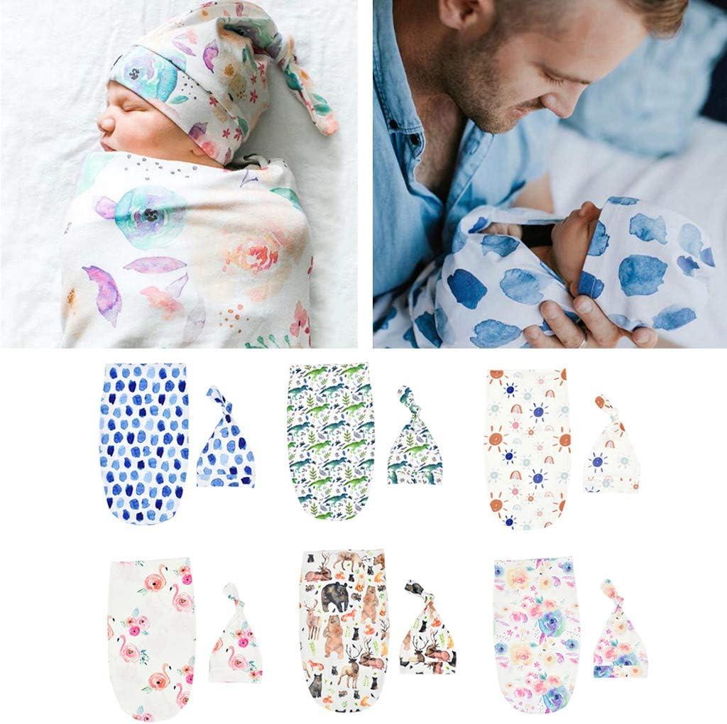Sac De Couchage pour B/éb/é UNFAIR 2Pcs Set Couverture Swaddle Nouveau-n/é Accessoires Wrap Hat Photo