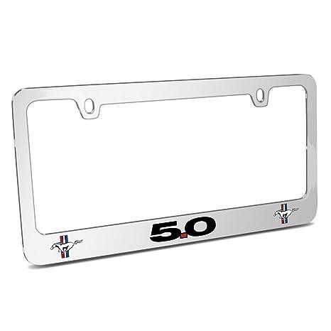 Ford Mustang Chrome Logo Black License Plate Frame