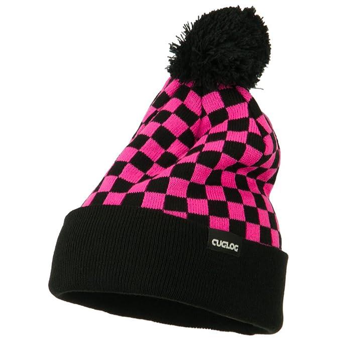 5d88b46bf DECKY Checkered Long Cuff Pom Pom Beanie - Hot Pink