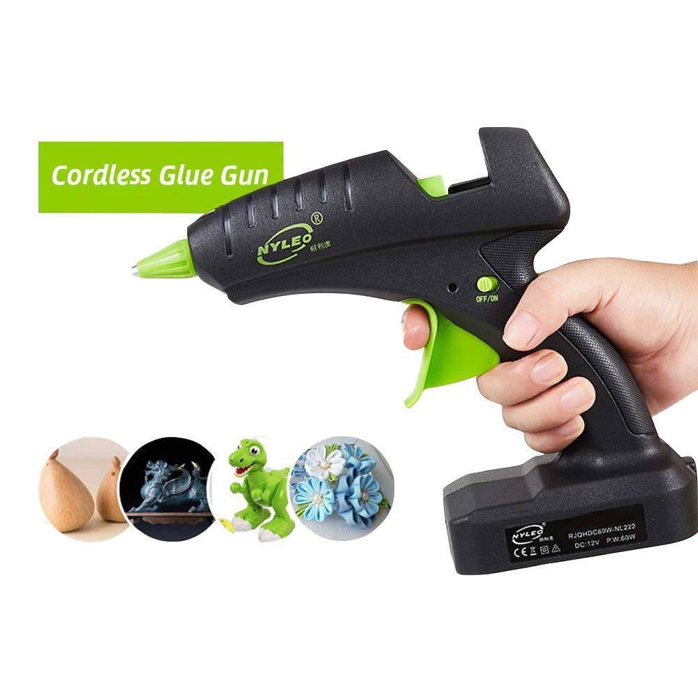 Full Size Hot Glue Gun Cordless 60W 12V Rechargeable Electric Heating Tool with lithium Battery 2000mAh for DIY Arts Craft 0.43''(11mm) Glue Sticks with US Plug Charger