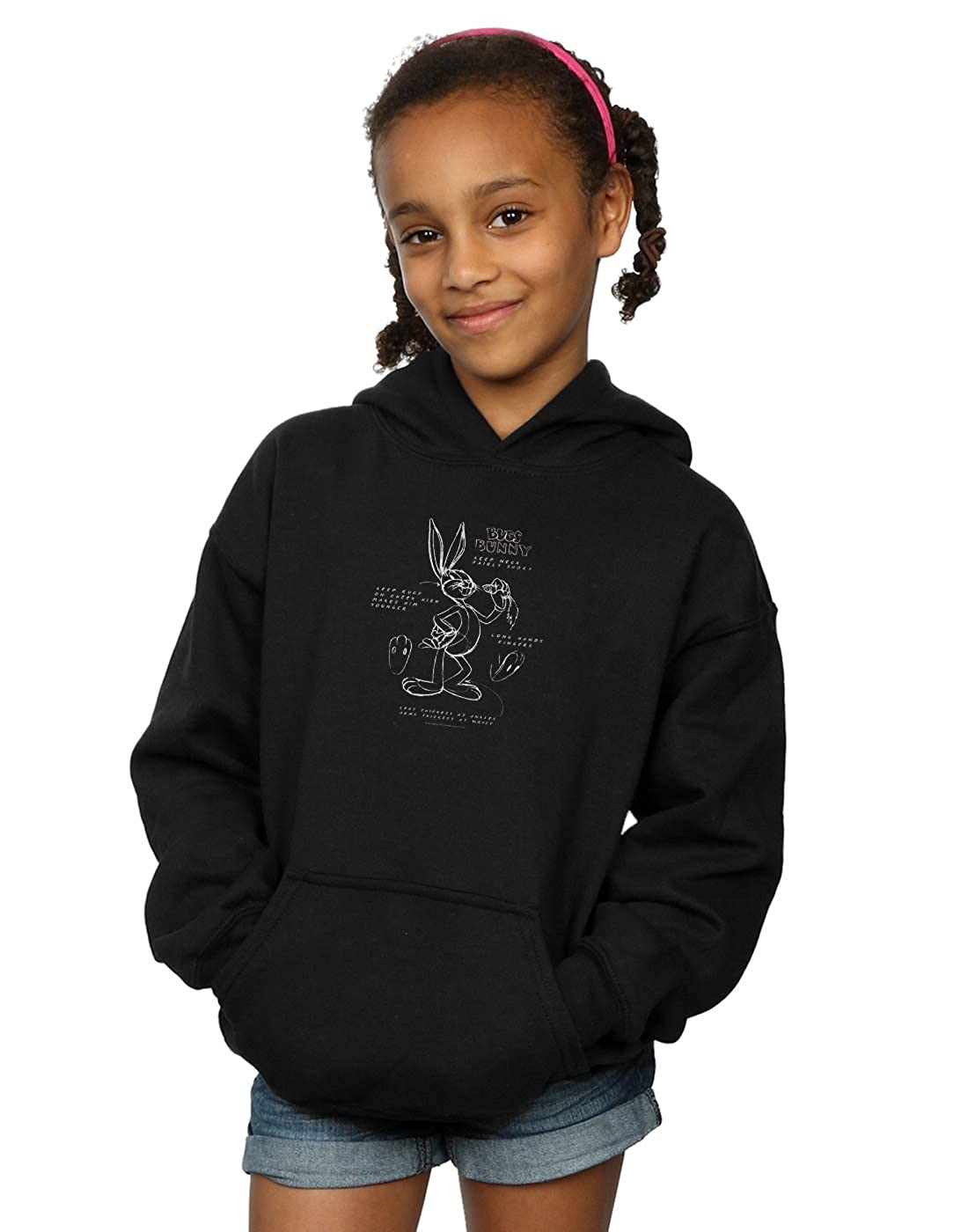 Absolute Cult Looney Tunes Girls Bugs Bunny Drawing Instruction Hoodie