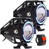 Par Farol De Milha de Led U11 30w com Angel Eyes Projetor 12v para Moto e Neblina com Botão Liga/Desliga (Azul)