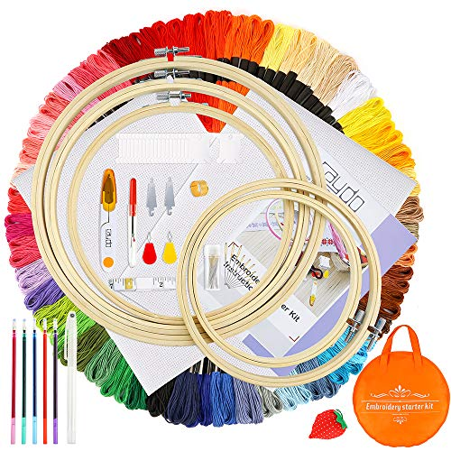 Caydo Full Range of Embroidery Starter Kit with Instructions, 100 Skeins 50 Color Threads, 5 Pieces Bamboo Embroidery Hoops, 2 Pieces Aida Cloth, A Circular Packing Bag and Cross Stitch Tool Kit