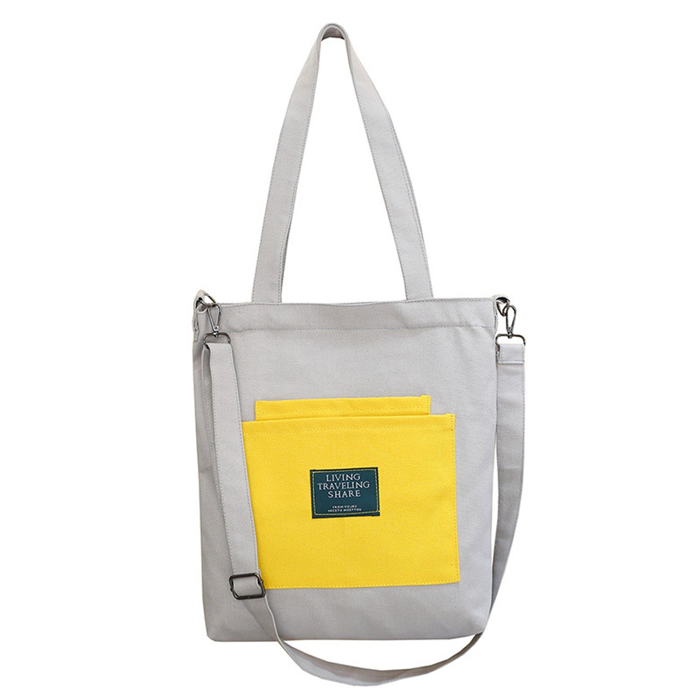 Women's Canvas Tote Bag, Ladies Top-handle Handbags, Work School Shoulder Bag crossbody Purse Hobo Handbags (White + Yellow)