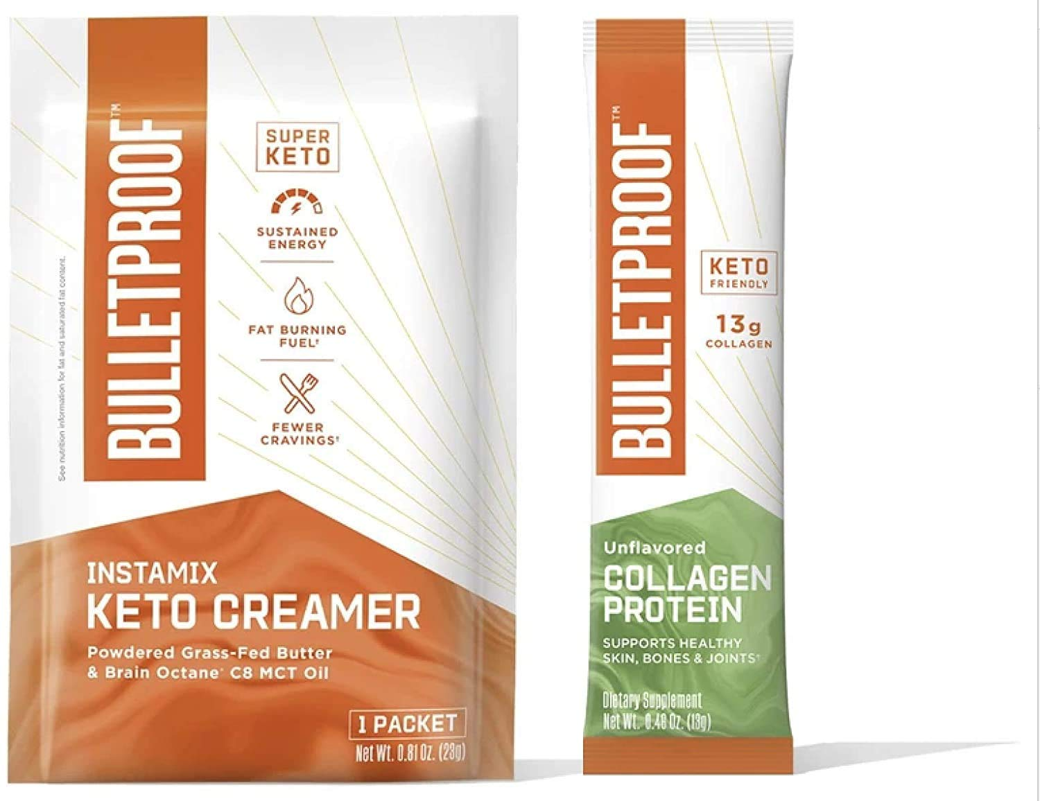 Bulletproof Coffee Duo - InstaMix Keto Coffee Creamer with Grass-Fed Ghee and MCT oil, 14 Pack & Unflavored Collagen Protein with 13g Grass-Fed Collagen Peptides for Skin, Bones, and Joints, 15 Pack