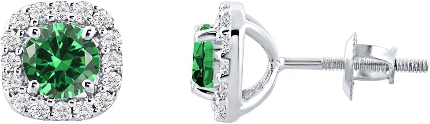 14K White Gold Plated Cushion Cut Emerald CZ Screwback Earrings Womens Jewellery