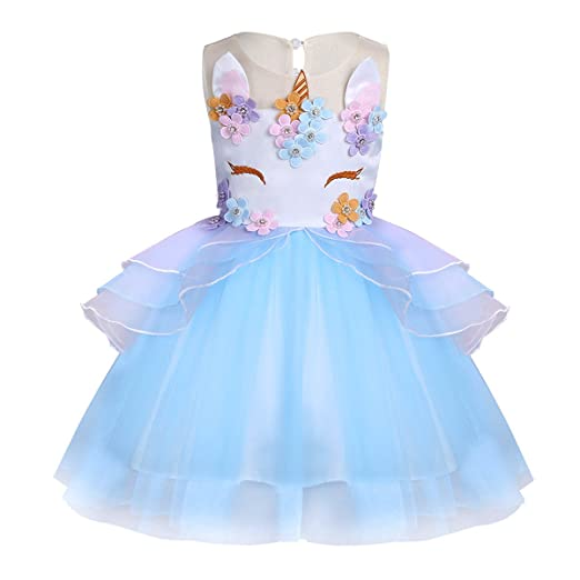 FEESHOW Girls Appliques Rainbow Tutu Dress Princess Cosplay Costumes Party Outfit Birthday Tutu Dress up Clothes