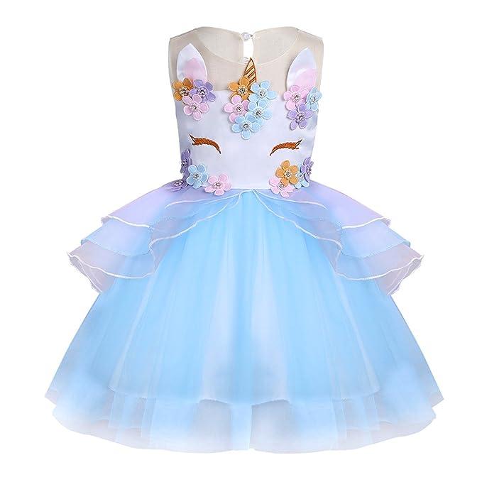 YiZYiF Niñas Vestidos de Princesa Fiesta Cumpleaños Ceremonia para Bebé Niña Disfraz de Infantil Unicornio Azul