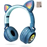 PowerLocus Wireless Bluetooth Headphones for Kids, Kid Headphone Over-Ear with LED Lights, Foldable Headphones with Microphon