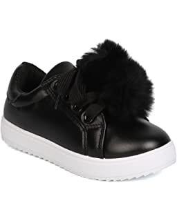 7a1ed34462c308 Girls Leatherette Lace Up Pom Pom Sneaker GB71
