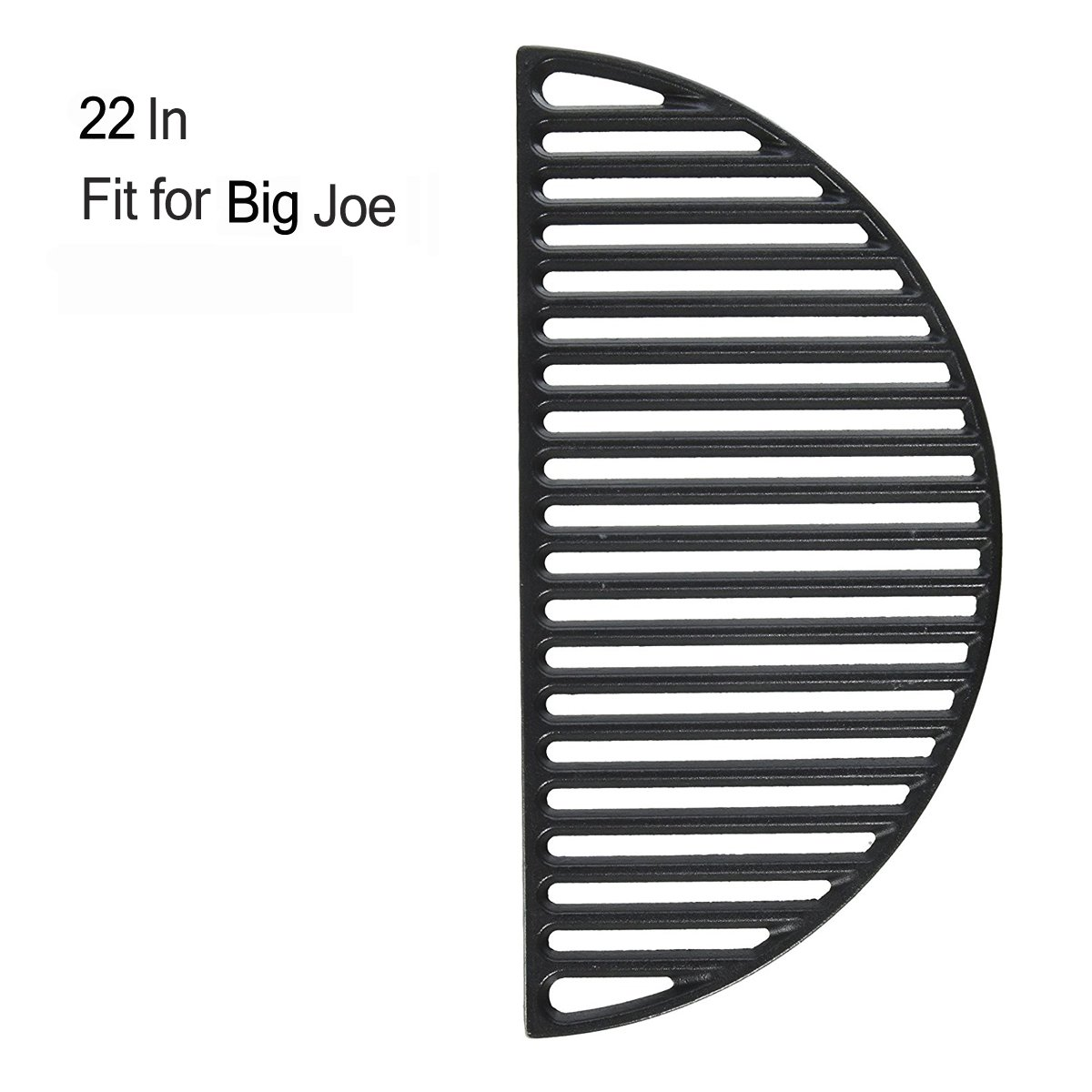 "22"" Half Moon Cast Iron Divide & Conquer Cooking Grate fit for Classic Joe Reversible Grate for Large Big Green Egg or any 22 Inch Kamado Grill Barbeque Accessories for Searing"