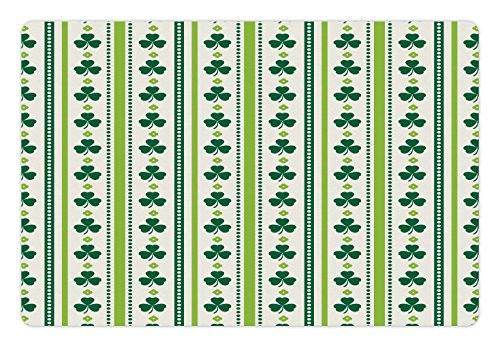 Ambesonne Floral Pet Mat for Food and Water, Clovers Vertical Lines and Dots Irish Traditional Floral Pattern, Rectangle Non-Slip Rubber Mat for Dogs and Cats, Lime Green Dark Green White