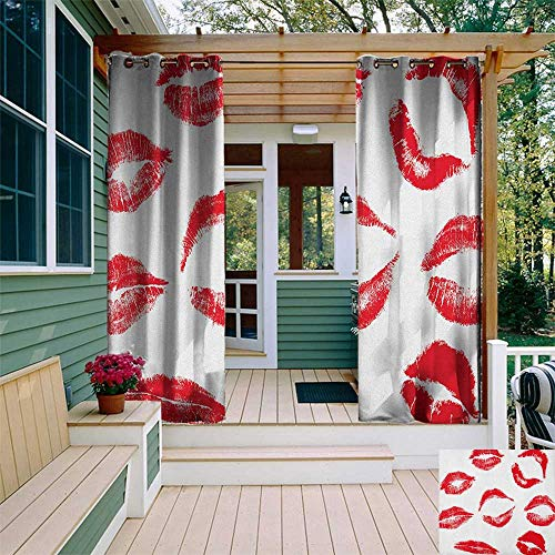 leinuoyi Kiss, Outdoor Curtain Kit, Various Different Kiss Marks in Red Woman Seduction Lipstick Trace Worn Grunge Look, for Patio Furniture W72 x L96 Inch Red White