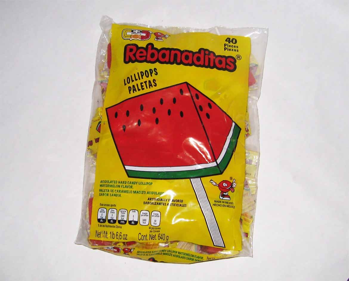 Candy Pop Rebanaditas Watermelon (Non-Chilli), 1.3 Pound | Watermelon Lollipops, Watermelon-Flavored Rebanaditas, Mexican Sweets, Large Pack of Candy, Watermelon