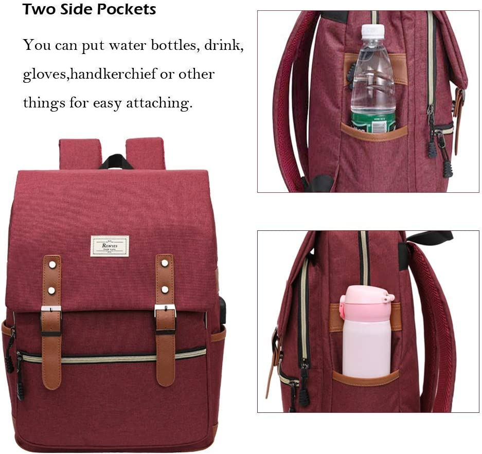 mochila escolar con USB unisex mochila casual impermeable Bolsa universitaria para port/átil de hasta 15.6
