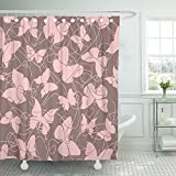 Brown Pink Shower Curtain Emvency 72