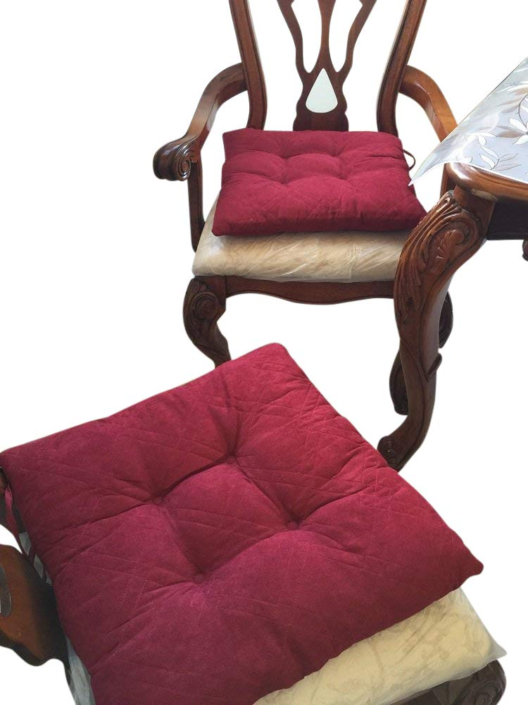 Octorose ® Set of Two Quilted Soft Micro Suede Dining Chair Cushion Pads 17x17