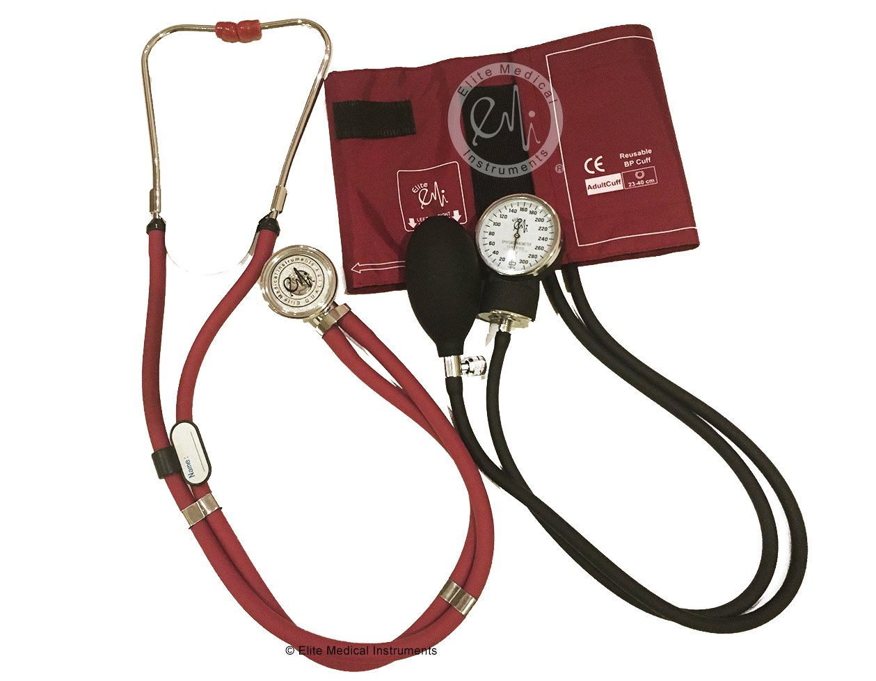 EMI BURGUNDY 330 Sprague Rappaport Stethoscope and Aneroid Sphygmomanometer Blood Pressure Set Kit