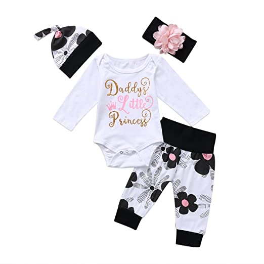 c61b6666 Newborn Kids Baby Boy Girl Daddy Little Princess Cotton Tops Floral Pants  Winter Outfit (tag
