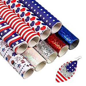 9-PCS-American-Flag-Faux-Leather-Sheets-Printed-Glitter-for-Making-Earrings-Bows-DIY-July-4th-Independance-Day-Crafts-118-x-8-Inch
