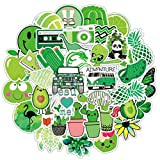 50 Pack Water Bottle Stickers for Hydroflasks, Waterproof Kawaii Stickers Cute Vinyl Sticker Decal Vsco Girls Stuff Perfect for Hydro Flask Laptop Luggage Phone Case Skateboard Travel Guitar (Green)
