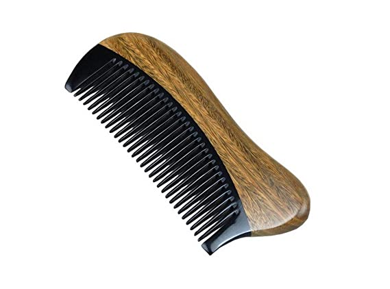 Green Sandalo Beautiful Healthy Hair Care pesca Oriental Horn Comb-Pettine in legno twxToz9