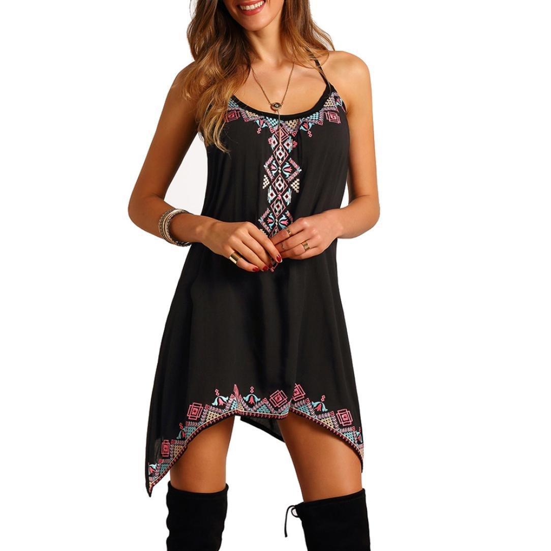 Elecenty Damen Ärmellos Sommerkleid Rock Strandkleid Irregulär Kleider Drucken Frauen Mode Kurz Knielang Kleid Minikleid Kleidung