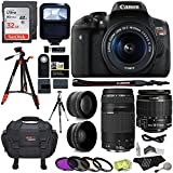 Canon EOS Rebel T6i 24.2 MP Digital SLR Camera 18-55mm STM Lens + Canon EF 75-300mm f/4-5.6 III Lens + RitzGear .43x HD Wide Angle Lens & 2.2X Telephoto Lens + Sandisk 32GB + Tripod + Accessory Bundle