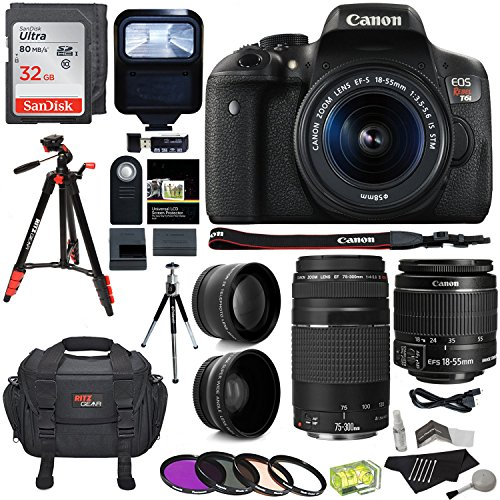 Review Canon EOS Rebel T6i 24.2 MP Digital SLR Camera 18-55mm STM Lens + Canon EF 75-300mm f/4-5.6 III Lens + RitzGear .43x HD Wide Angle Lens & 2.2X Telephoto Lens + Sandisk 32GB + Tripod + Accessory Bundle