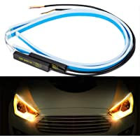 Alician Ultrafine Cars - Tira de Luces LED para conducción Diurna, Color Blanco y Amarillo, 60 cm, Blanco y Amarillo, as Shown