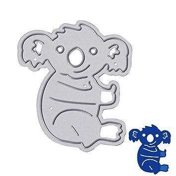 Koala Bear Heart Cute Daily Cutting Dies Metal Stencil Template For ...