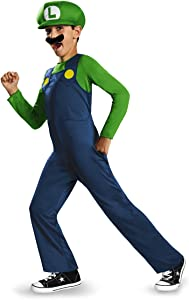 Nintendo Super Mario Brothers Luigi Classic Boys Costume, Medium/7-8