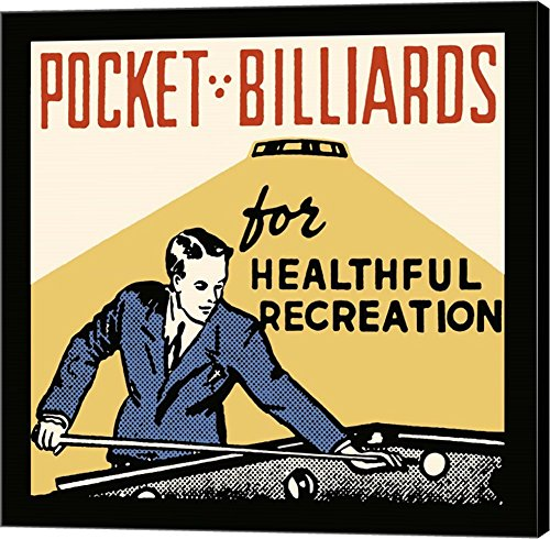 Pocket Billiards For Healthful Recreation by Retro Series Canvas Art Wall Picture,