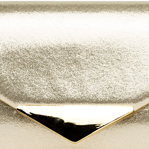 CASPAR TA417 Damen Glanz Satin Envelope Baguette Clutch Abendtasche Gold