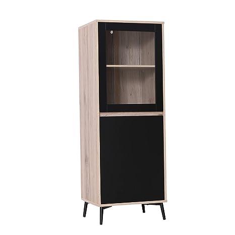 Pleasant Homcom Two Tier Storage Cabinet Kitchen Sideboard Corner Display Shelves Glass Door Metal Feet Download Free Architecture Designs Scobabritishbridgeorg