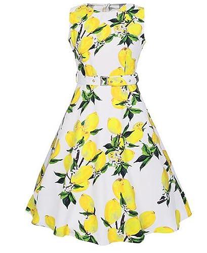 Heheja Donne Vestiti Estivi Vintage Floral Limone Linea Ad A Cocktail Party Vestito Floreale