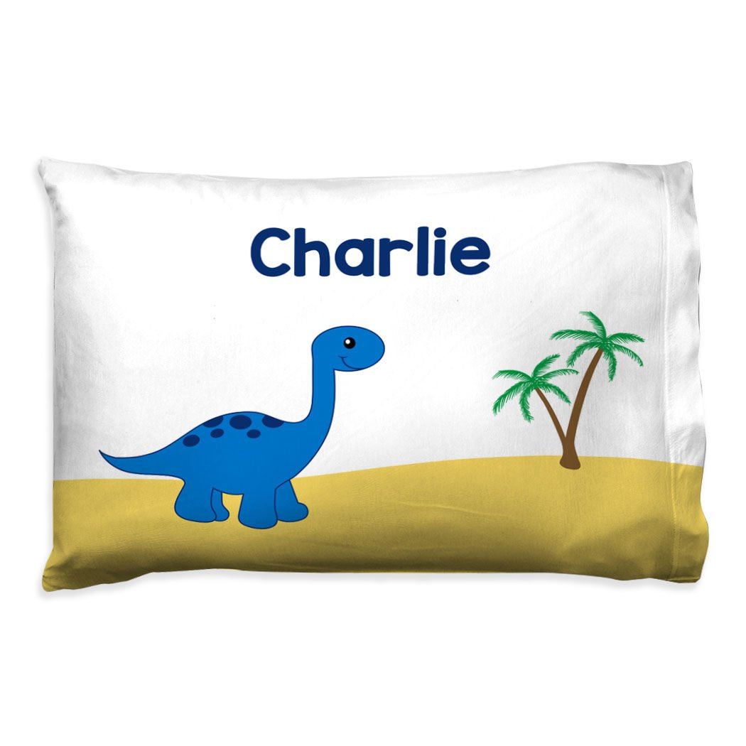 ChalkTalkSPORTS Personalized Kids Pillowcase | Dinosaur with Custom Name | Blue