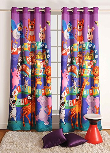 Blackout Polysatin Window Curtains for Kids Rooms -Animal- Set of 2 Curtain Panels with Silver Grommets 48 Inchx 60 Inch by ShalinIndia