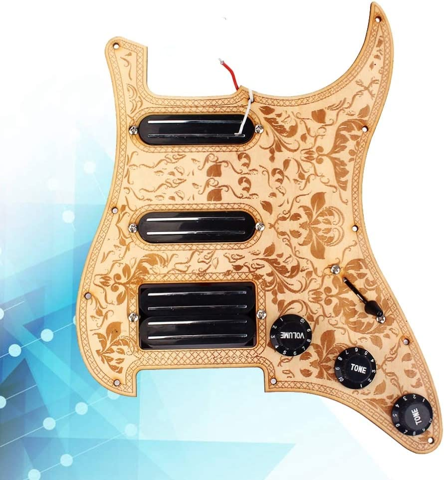 SUPVOX Loaded Pickguard Loaded Humbucker 2 Single Coil Pickups Set for Electric Guitar Golden