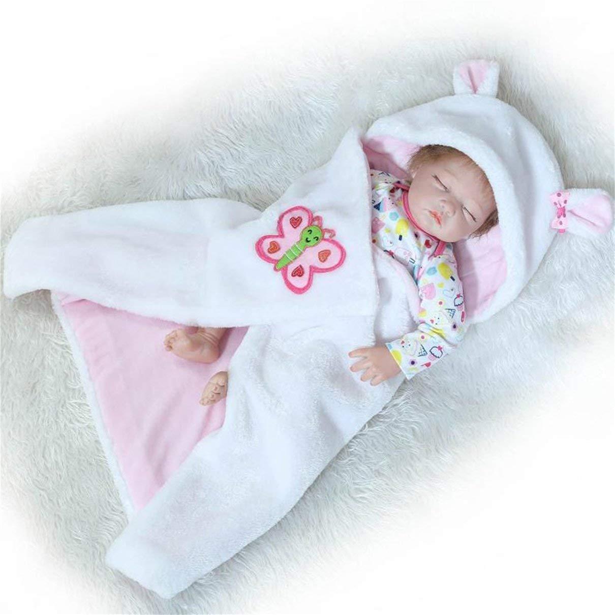 55CM Silicona Dormir renacido de la muñeca de los niños Playmate Regalo para los bebés Alive Peluches Juguetes Renacido Accesorios de Fotos Blanco y Rosa