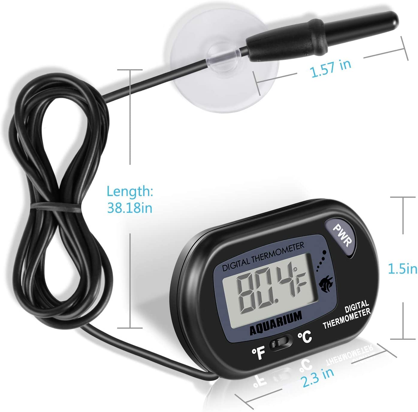 Isabelvictoria Glass Meter Aquarium Fish Tank Water Temperature Thermometer with Suction Cup Digital Household 0-44 Degrees Ce