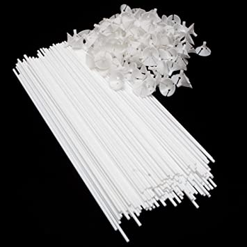 """24/"""" White Balloon Straws Maxi Sticks only for 18/"""" Balloon x 100 Qty"""